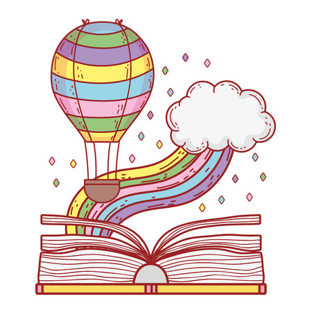 text book with rainbow and balloon helium