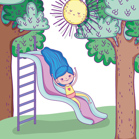 beauty girl in the slide with sun and trees