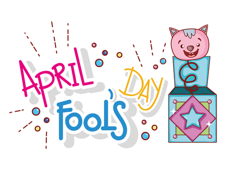 cat box to fools day celebration vector illustration