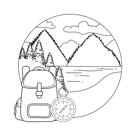 compass guide with pines forest and travelbag