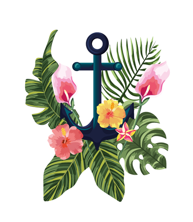 tropical flowers with exotic leaves and anchor