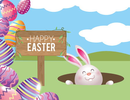 happy rabbit with easter eggs and wood emblem