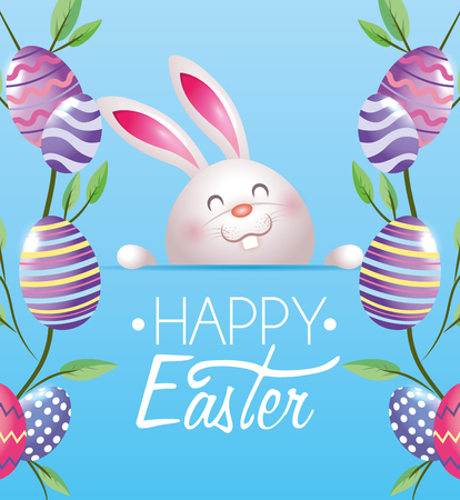 happy rabbit with easter eggs and plants