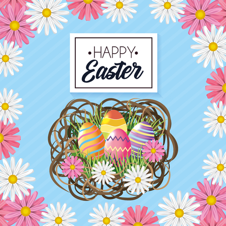 Happy Easter eggs decoration with flowers inside nest Ilustrace