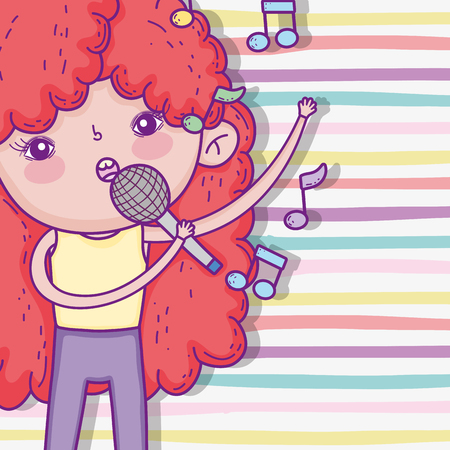 cute girl with curly hairstyle and singing music Ilustração