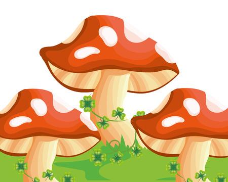 raw mushrooms cartoon vector illustration graphic design