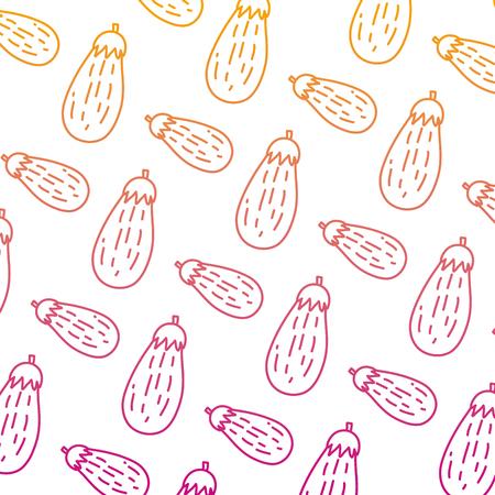 degraded line healthy eggplant fresh vegetable background vector illustration
