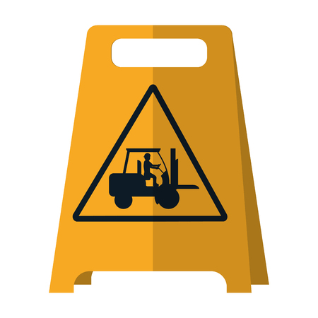 plastic caution emblem and laborer with forklift vector illustration