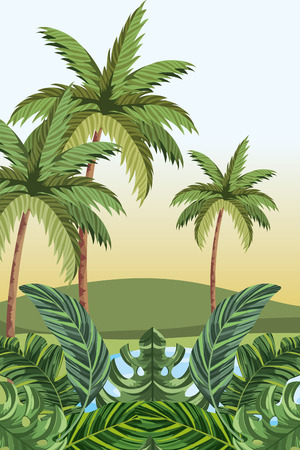 tropical jungle landscape cartoon vector illustration graphic design Çizim