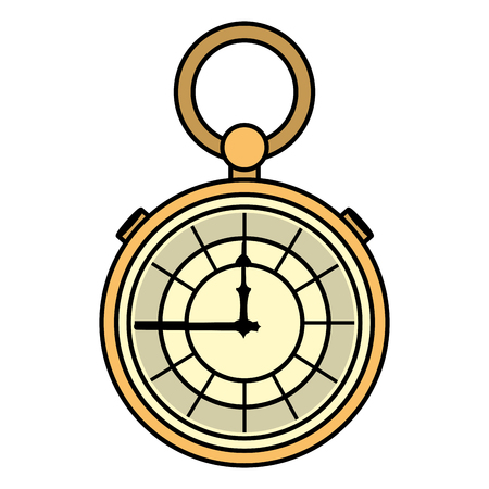 color luxury pocket watch fashion object vector illustration