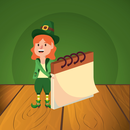 st patricks day elf with notebook cartoon vector illustration graphic design Çizim