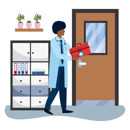 healthcare medical doctor man holding first aid box at doctors office cartoon vector illustration graphic design