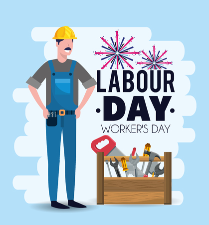 man mechanic with equipment to labour day vector illustration Ilustração