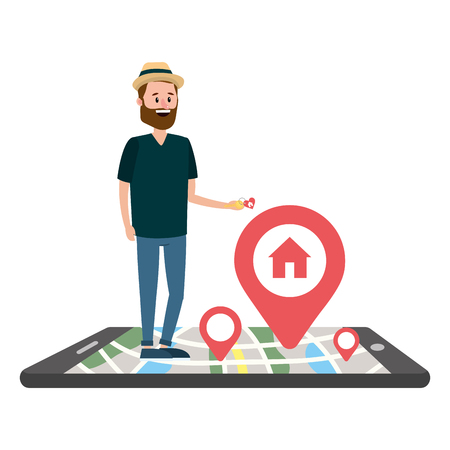 real estate man looking for house to buy with smartphone cartoon vector illustration graphic design
