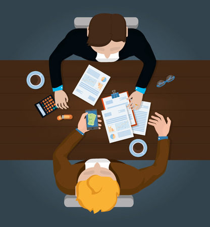 business personal finance desk work elements cartoon vector illustration graphic design Standard-Bild - 124261965
