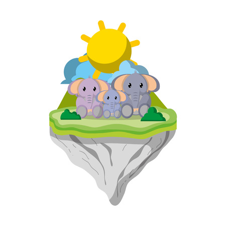 family elephant animal in float island vector illustration