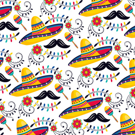 mexican hat with maracas and mustache background vector illustration
