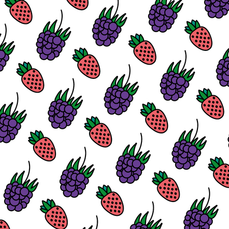 color delicious strawberry and grape fruits background vector illustration