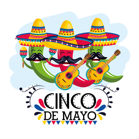 chili peppers wearing mexican hat with maracas and guitars vector illustration