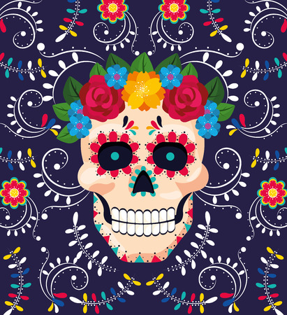 man skull decoration with flowers to mexican event vector illustration