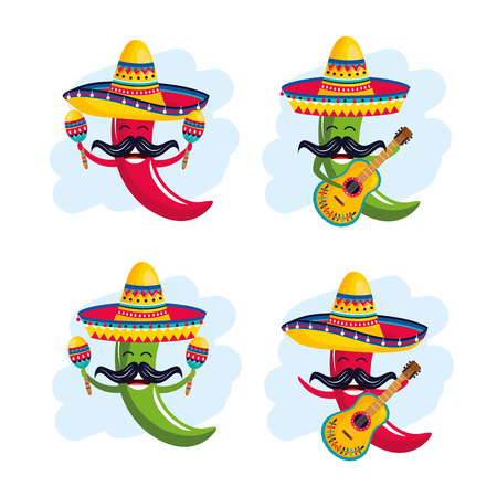set chili peppers wearing hat with maracas and guitar vector illustration Vettoriali