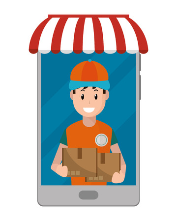 delivery guy carrying boxes going out cellphone vector illustration graphic design Иллюстрация