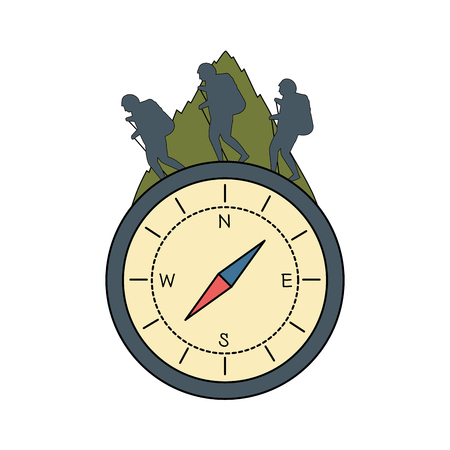 compass guide with mountains scene vector illustration design