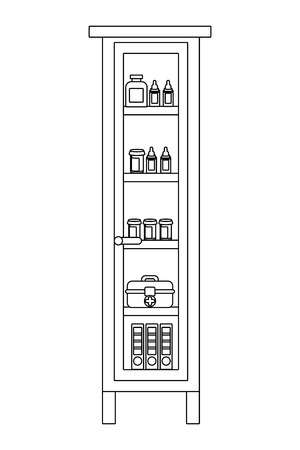 modern furniture library cartoon vector illustration graphic design