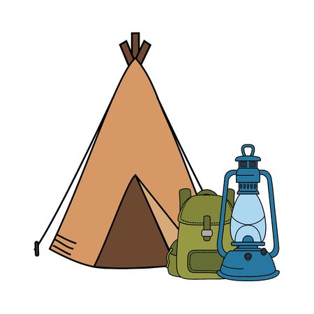 camping tent with kerosene lantern and bag vector illustration design