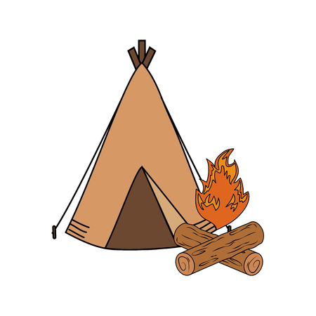 camping tent with campfire vector illustration design Vectores