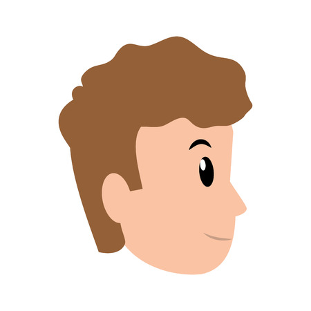 young man avatar only face vector illustration graphic design Ilustrace