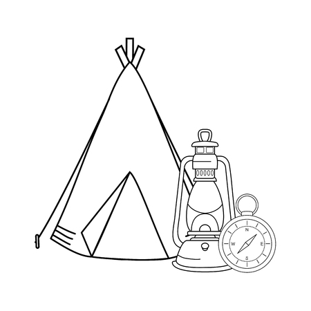 compass guide with kerosene lamp and tent vector illustration design