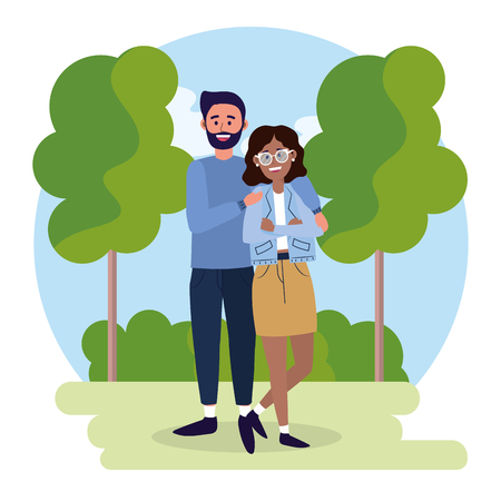 woman and man couple with casual clothes vector illustration