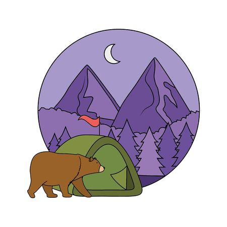 camping tent with mountains vector illustration design
