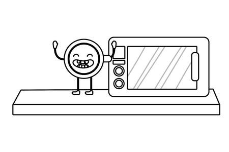 coffee kawaii mug raised hands at kitchen cartoon vector illustration graphic design Ilustração