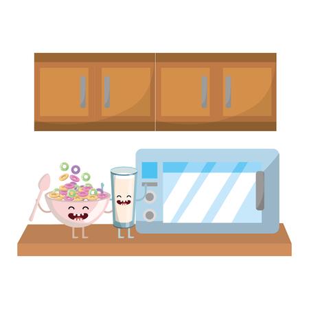 delicious tasty milk glass kawaii with corn flakes at kitchen cartoon vector illustration graphic design