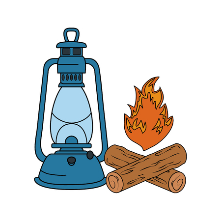 campfire camping and kerosene lantern vector illustration design