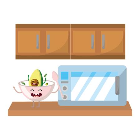 delicious kawaii breakfast ingredients avocado soup at kitchen cartoon vector illustration graphic design Ilustração