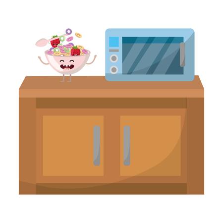 delicious tasty food kawaii corn flakes with strawberry at kitchen cartoon vector illustration graphic design Ilustração