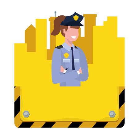 labor day job career police woman with buildings sign cartoon vector illustration graphic design