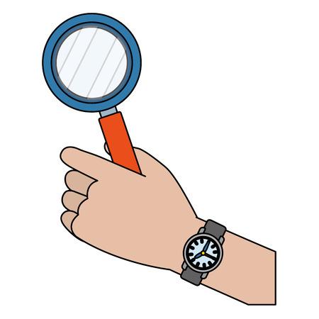 human hand holding magnifying glass cartoon vector illustration graphic design