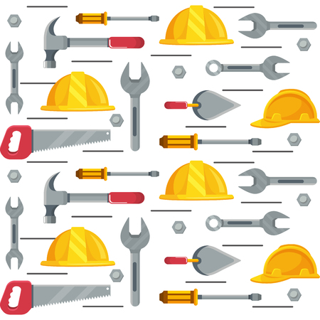 construction architectural tools pattern cartoon vector illustration graphic design
