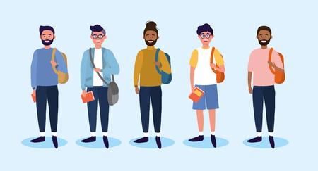Establecer hombres universitarios con ropa casual y mochila ilustración vectorial
