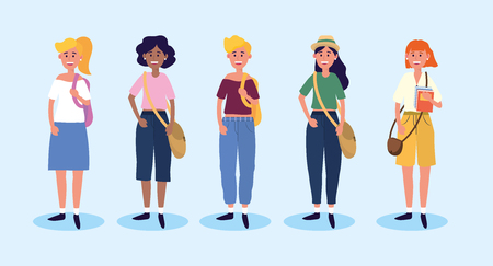 set university women with casual clothes and bags vector illustration