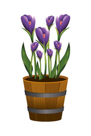 floral tropical flowers inside plant pot cartoon vector illustration graphic design