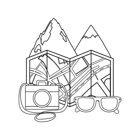 mountains landscape scene with papermap and camera vector illustration design