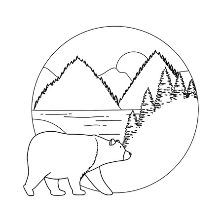 mountains with bear grizzly scene vector illustration design