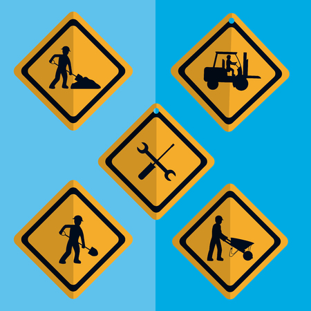 Set of construction roadsign icons and elements vector illustration graphic design