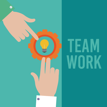 Business and teamwork hands with gears cartoons vector illustration graphic design