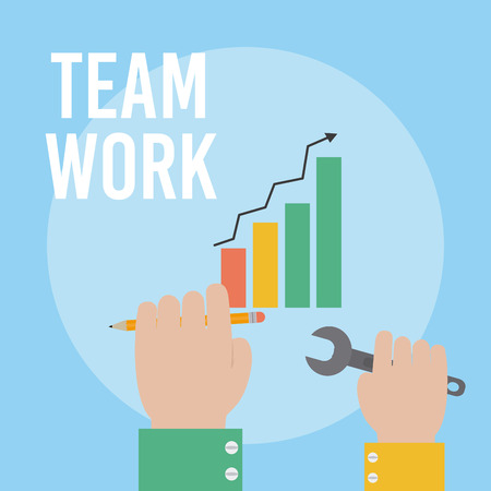 Hands with with tools and statistics bars growing teamwork cartoons vector illustration graphic design